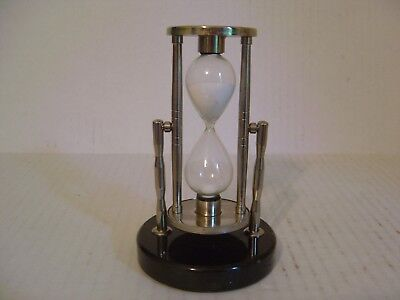 Metal And Glass Hourglass Sand Timer With Marble Base Marked J P Morgan