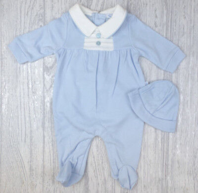 Baby Boys Spanish Style Traditional Sky & White Babygrow & Hat Outfit AW'18