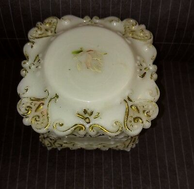 Milk Glass Trinket Box Antique Victorian