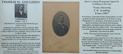 Western Union Telegraph Cable Service Pioneer Executive Goulding Signed Photo Vg