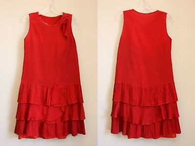 True Vintage 1920s Dress Red Crepe Pleated Details Art Deco Flapper Gatsby 20s