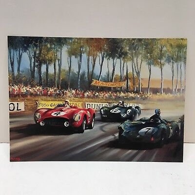Vintage Ferrari LeMans Automobile Car Race Original 1954 Postcard Gonzales Esses