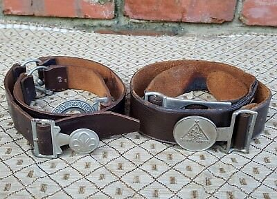Lot of 2 Old Vtg BSA Boy Scouts Leather Uniform Belt & Buckle Be Prepared Canada