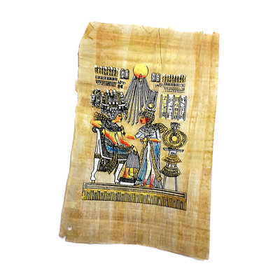 Egyptian Hand Made Papyrus of King Tut & his Wife