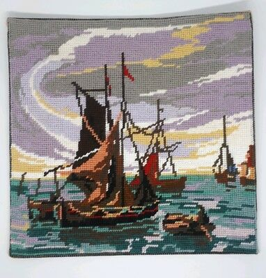 Vintage completed tapestry needlepoint nautical sea ships sailing