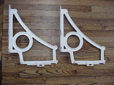 "Pair Antique Cast Iron White Porcelain Sink Brackets Supports Old Vtg 20"" x 16"""