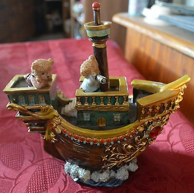 Resin Pirate Ship Coin Bank With Teddy Bears