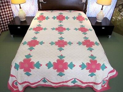OUTSTANDING Vintage Antique Feed Sack Hand Sewn APPLIQUE ROSE OF SHARON Quilt