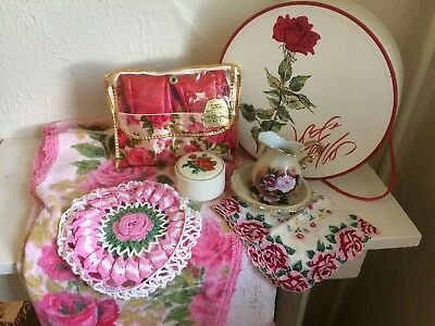 VTG PINK and RED ROSES LOT Hankie SLIPPERS Doilies BED JACKET Trinket HAT BOX