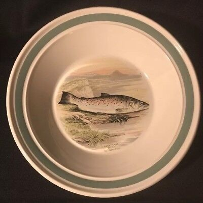 "Portmeirion 9""  Bowl The Compleat Angler Great Lake Trout Green Rim"