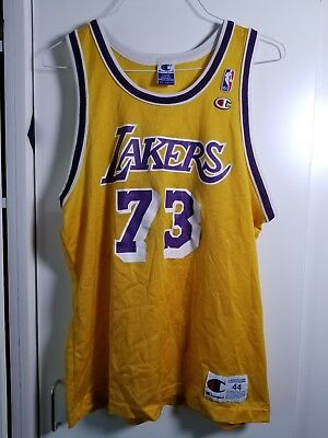 413a27af15a5 Vtg Champion NBA Los Angeles Lakers Basketball jersey Sz 44 L.  73 Dennis  Rodman