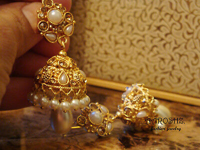Polki Jhumka Jhumki Pakistani Indian Polki Earrings Bollywood Jewelry Gold USA