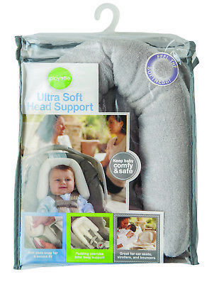 Playette Head Support Ultra Soft Grey,,great for car seats,strollers, bouncers