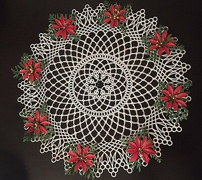 """Vtg Christmas Holiday plastic lace doily with poinsettias 12"""""""