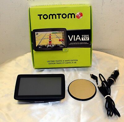 Tom Tom VIA 1505 TM in Box with Mount and Car Charger Bundle