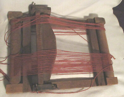 """Vintage/Antique Table-Top Weaving Loom - Hand Made of Wood - 10"""" Weave"""