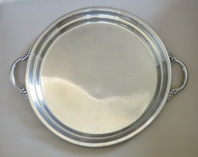 Williamsburg Hand Made Shirley Pewter Tea Tray Hammered Glossy Beaded Handles