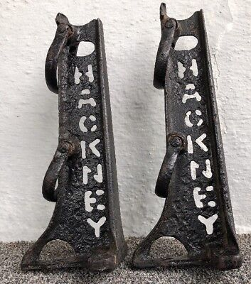 Pair Antique HACKNEY Cast Iron Horse Wagon Stakes = Amazing Wall Shelf Brackets
