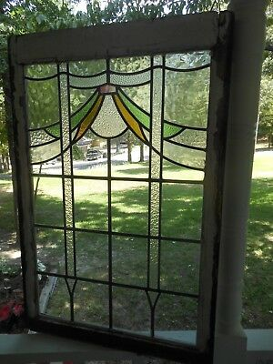 P-61 LARGE Lovely Older Leaded Stain Glass Window F/England 26 1/4 W X 39 1/2 T