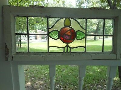 S-253E Lovely Older English Transom Leaded Stain Glass Window 27 5/8W X 12 1/8T