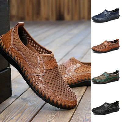 Mens Summer Breathable Loafer Soft Leather Driving Shoes Casual Slip On Flats UK
