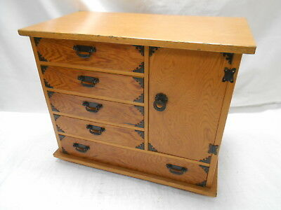 Vintage Wooden Dresser or Sewing Box Japanese Drawers Circa 1960s #807