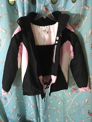 Cherokee Girls Pink White and Black Hooded Winter Coat (L)