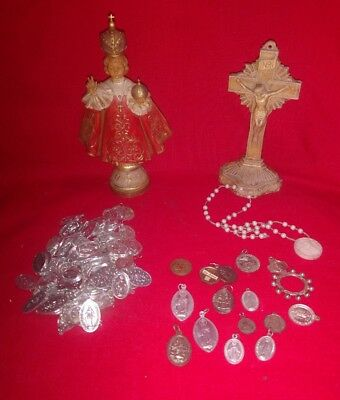 Large Lot of 114 Vintage Religious Medals & 2 Religious Figures