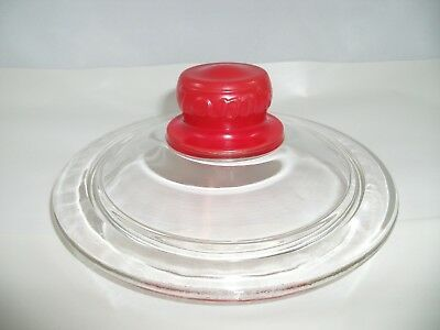 Vtg Tom's embossed Red Knob Glass Peanut Jar Cover Replacement Lid Only Original