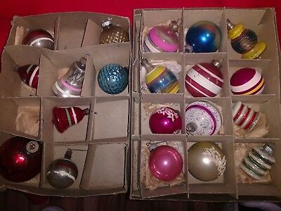 Vintage Shiny Brite Assorted Mica Glass Christmas Ornaments in Boxes 20 Total