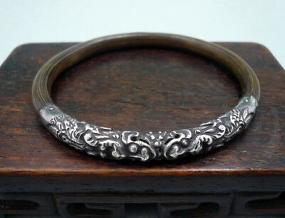 Antique Chinese Silver Rattan Double-Dragon Bracelet Marked SILVER