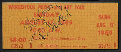 Jimi Hendrix Autograph & Woodstock Ticket Reprint On Genuine 1960s Card 9008