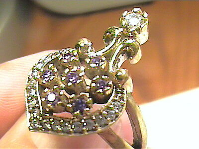 VINTAGE ANTIQUE amethyst SILVER RING 9 MEDIEVAL SAPPHIRE STERLING 925 COCKTAIL H