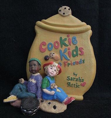 """Sarah's Attic Cookie Kids Friends Sign SIGNED BY ARTIST """"God Bless You"""" Sarah"""