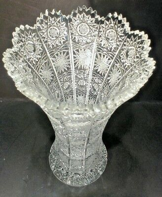 Gorgeous ~ Czech Bohemian Hand Cut~ Queens Lace~ Crystal Glass Vase  ~ Signed