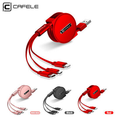 CAFELE 3 in 1 Retractable Micro Type C 8 Pin USB Cable Cord Charger for iPhone