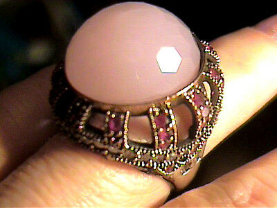 Medieval RING 7 PINK QUARTZ SAPPHIRE  silver OLD sterling 925 vintage BIG COCKTA