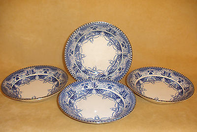 Set of 4 Soup Bowls Blue & White - Vienna by Buffalo Pottery