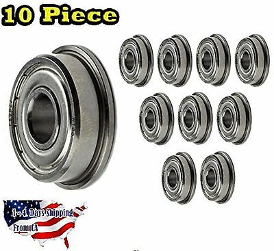 10-Pieces F608-ZZ Ball Bearing 8x22x7mm, Flange Shielded Deep Groove Best... New