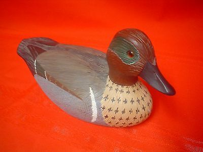 Vintage Hand Carved Wooden Green Winged Teal Duck Decoy W. Fred Reitmeyer  WFR