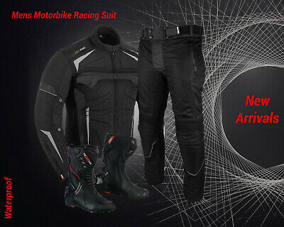 Motorbike Racing Suit Waterproof Motorcycle Codura Jacket Trouser Leather Boots