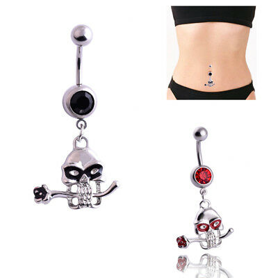 316L Surgical Steel Skull with Red Gem Eyes /& Wings Belly Ring