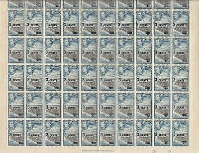 Stamps 1940 Ceylon 3 cent on 6c KGV1 surcharge SG398 sheet of 60 plate 3A/2A