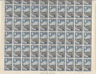 Stamps 1940 Ceylon 3 cent on 6c KGV1 surcharge SG398 sheet of 60 plate 3, MUH