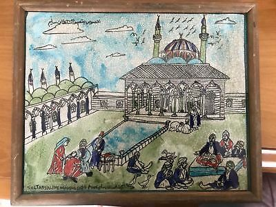 1554 Ottoman sultan Suleiman Mosque Antique Painting Islamic Collectible Turkey