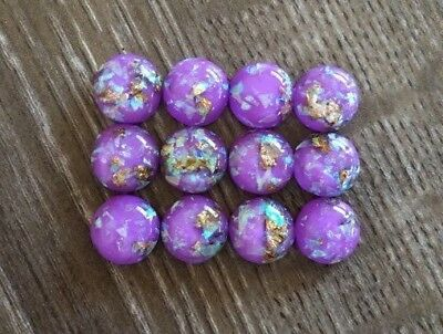 12x 12mm Purple Gold Foil Glitter Round Resin Cabochon Flatback Embellishments