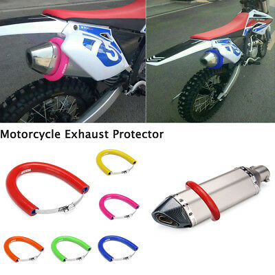 Universal Motorcycle Silicone Exhaust Protector Cover Silencer Protection Ring