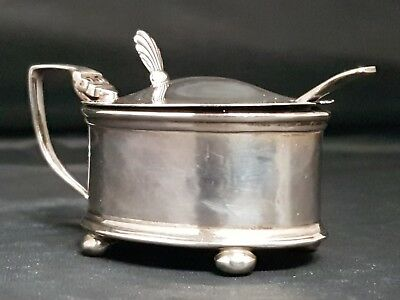 Sterling Silver Mustard Pot Hallmarked Birmingham 1939 original glass liner