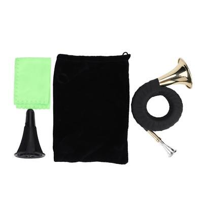 Mini Brass Bb Hunting Horn Micro French Horn Brass Instrument w/ Accessories