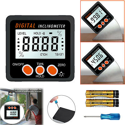 360° LCD Digital Inclinometer Gauge Angle Protractor Level Box Magnetic Base
